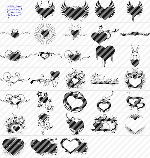 Hearts Photoshop brushes set