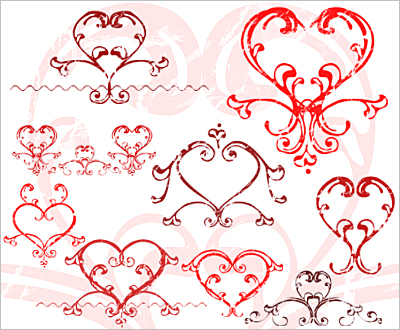 Com and get my new free love hearts set of Photoshop brushes for you to make