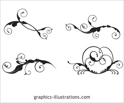 swirls tattoo. 4 swirls vectors LITE edition