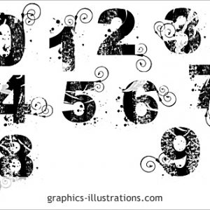 Grunge alphabet with swirls Photoshop 7 brushes set