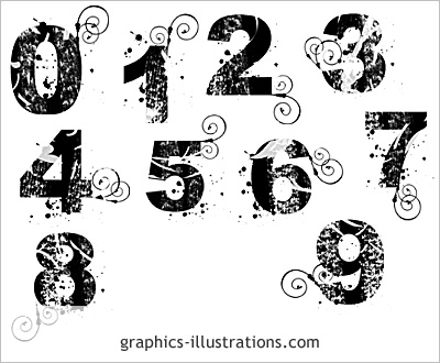 Lite edition grunge numbers Photoshop brushes numbers