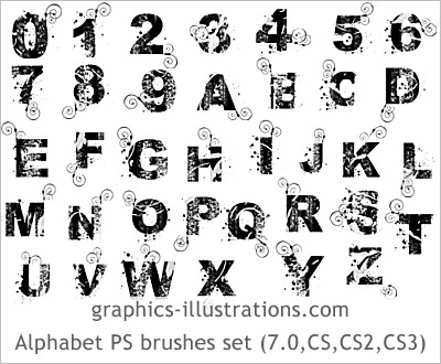 Premium edition Grunge alphabet and numbers Photoshop 7 brushes set (set of