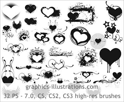 heart brushes photoshop