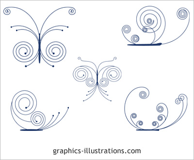 Swirls Buterflies, Photoshop brushes set (lite edition)