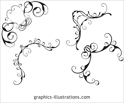 Lite edition Corner designs, swirls ornaments - set of 4 Photoshop brushes