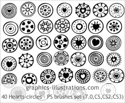 PREMIUM Hearts - circles Photoshop brushes edition - 40 brushes in a set
