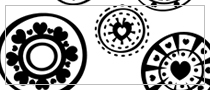 LITE Circled Hearts Photoshop brushes set edition, 6 brushes in a set