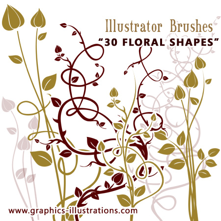 Vectors and Illustrator Brushes: Floral Shapes
