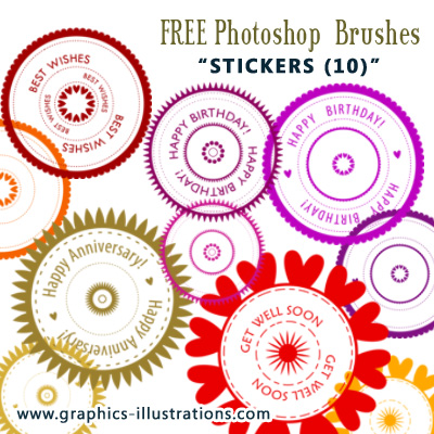 10 stickers photoshop brushes