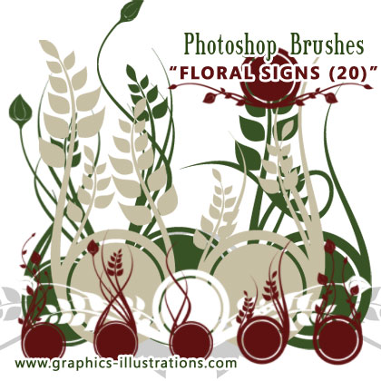 Brand New Photoshop Brushes - Floral Signs