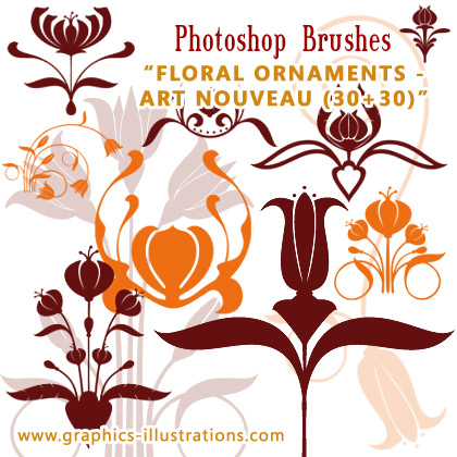 PREMIUM PHOTOSHOP BRUSHES SET - Floral Ornaments Art Nouveau, 30+30
