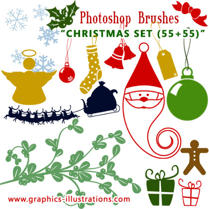 Christmas Photoshop brushes set (55+55)