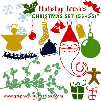Christmas Photoshop brushes set (55+55)