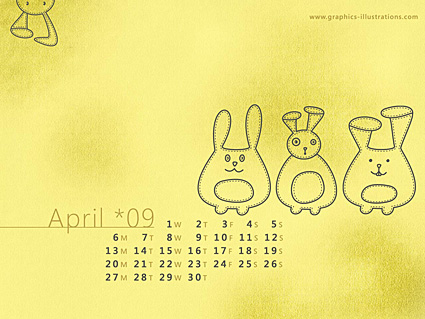 Desktop Calendar Wallpaper – April 2009