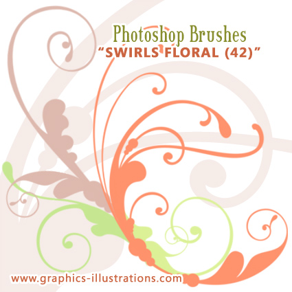 Swirls Floral Photoshop Brushes Set (comp. with PS 7.0 up to CS4)