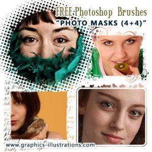 New Photoshop Brushes: Photo Masks (4+4)!