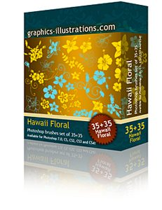 Hawaiian (Hibiscus) Flowers Photoshop Brushes set