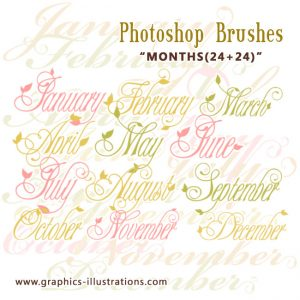 Photoshop Brushes: Months 12+12+12+12  (two designs in two sizes! digital stamps)