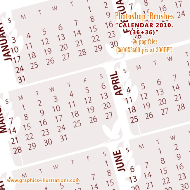 Calendar 2010. (US version) Photoshop brushes set (36+36)
