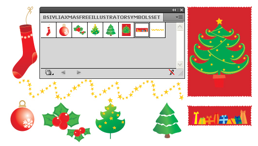 Adobe Illustrator Christmas &amp; New Year Symbols set - Free Download