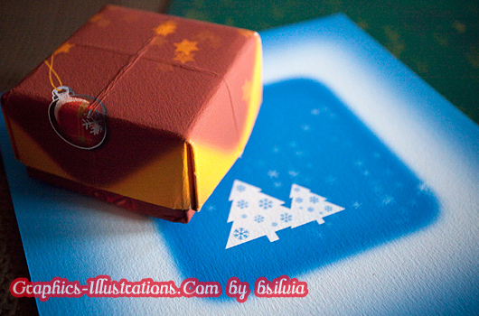Christmas backgrounds for origami paper gift box