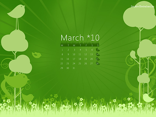 March 2010 Calendar Desktop Wallpaper