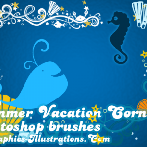 Summer Vacation Corners, Digital Stamps – Photoshop Brushes