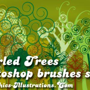 Swirled Trees, New Photoshop Brushes – Digital Stamps set
