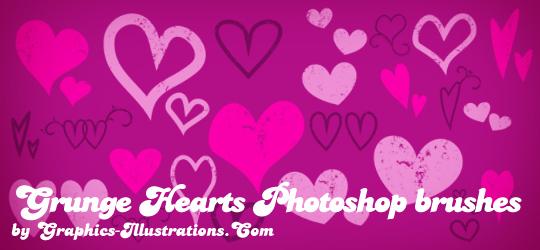 Grunge Hearts Photoshop brushes