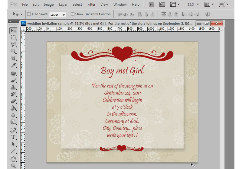 photoshop tutorial how to make a wedding invitation - Make Wedding Invitations