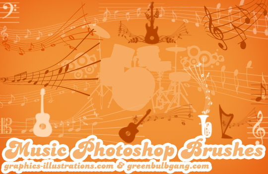 Music (15+15+15) Photoshop brushes set – 15 brushes – three sizes and 15 transparent PNG files