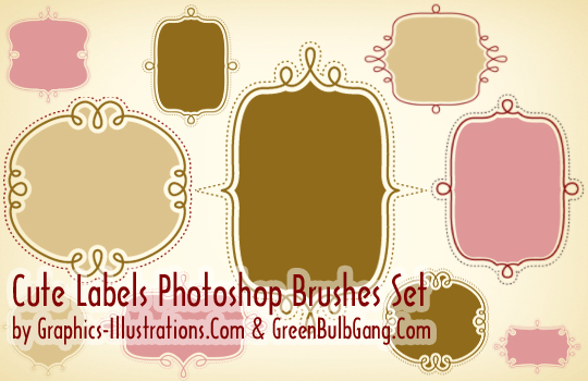 Cute Labels Photoshop brushes for Gold and Platinum GBG members