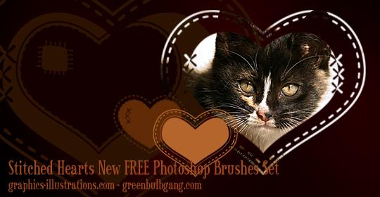 Stitched Hearts Photoshop brushes