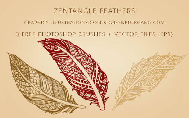 Zentangle Feathers - Free Photoshop Brushes