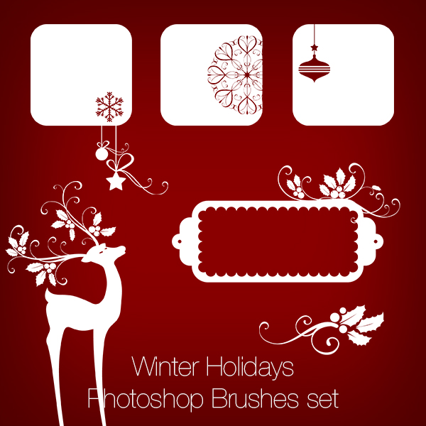 Winter Holidays / Christmas / New Year Photoshop Brushes and PNGs