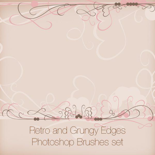 Retro and Grungy Edges Photoshop Brushes