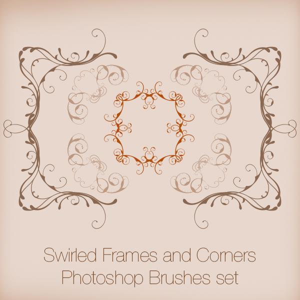 Swirled Frames and Corners Photoshop Brushes