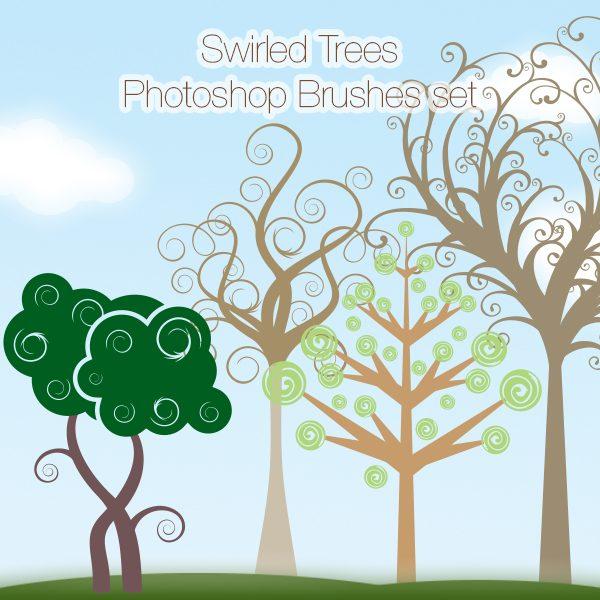 Swirled Trees Photoshop Brushes