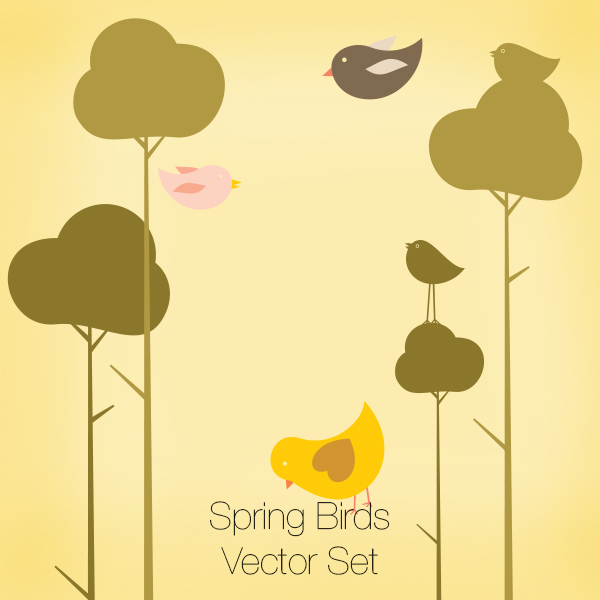 Spring Brids Vector Set
