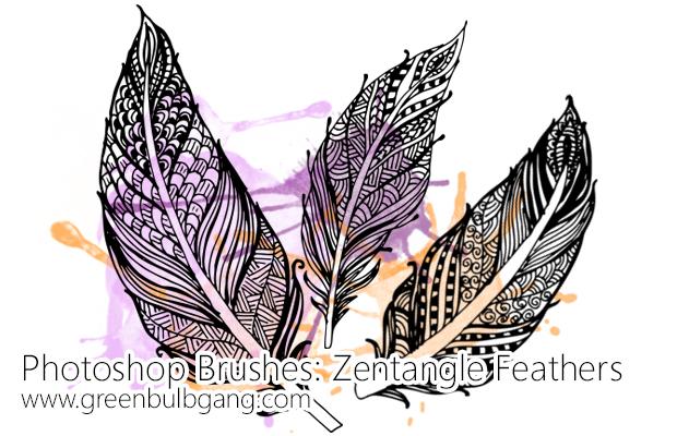 Zentangle Feathers Photoshop brushes