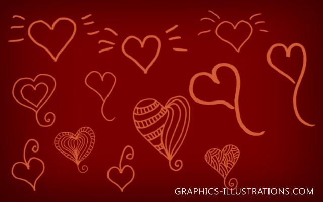 Free Doodle Hearts Photoshop brushes and Background