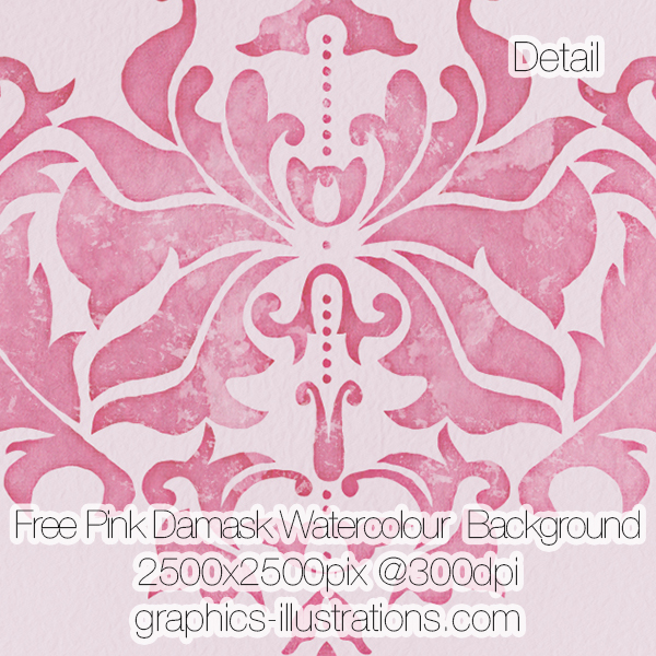 Pink Damask Watercolour Background