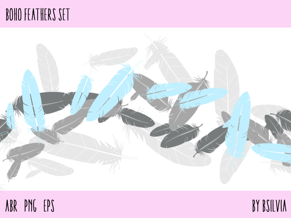 Boho Feathers Set, Photoshop brushes (digital stamps), Transparent PNG files and Boho Feathers Vector Files. Bonus: Gold Feathers PNGs