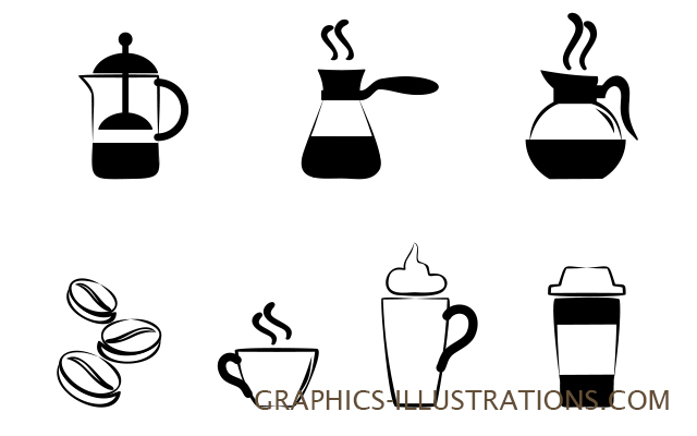 Coffee Set - 7 Photoshop brushes (two sizes: ) and 7 transparent PNG files - All Free! (CU OK)