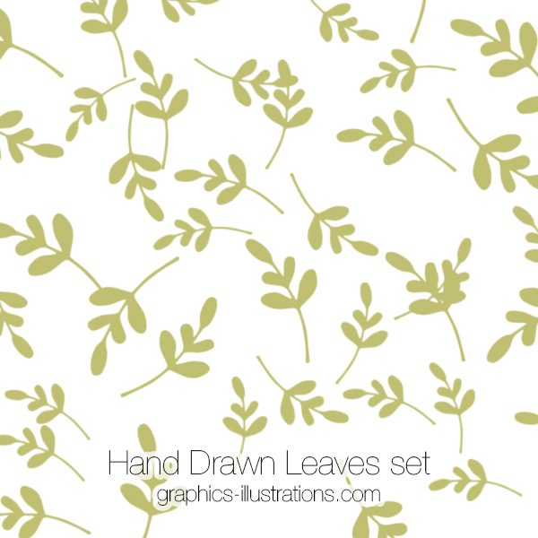 Hand Drawn Leaves Photoshop brushes and vector files (EPS), Hand Drawn Retro Design Elements, Commercial Use