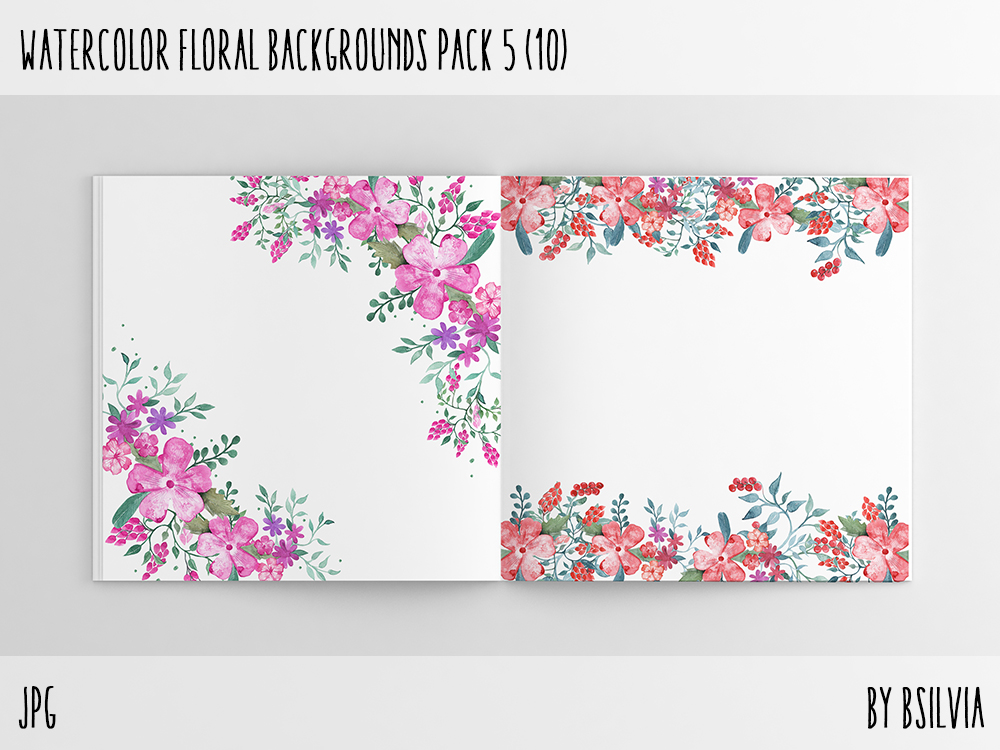 Watercolor Floral Backgrounds with Text Space, Watercolor Flowers Backgrounds Pack 5, Watercolor Flower Digital Paper, Floral Bloom Paper