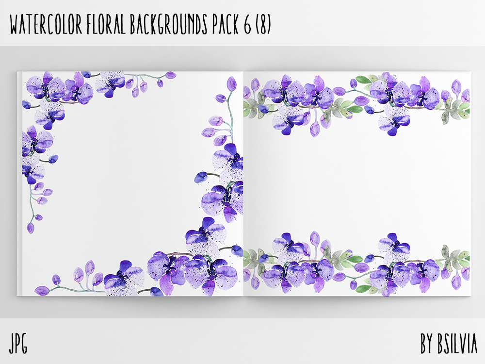 Watercolor Flowers Backgrounds Pack 6, Watercolor Orchid Digital Paper, Watercolor Orchid Scrapbook Paper with Text Space, Commercial Use