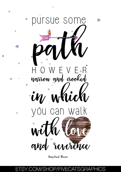 Motivational Quote for Home Decor, Pursue Some Path Digital Art, Inspirational Quotes Wall Art Printable