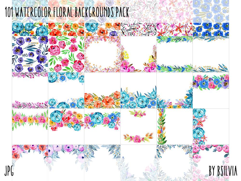 101 Watercolor Floral Backgrounds, Watercolor Floral Digital Paper Pack