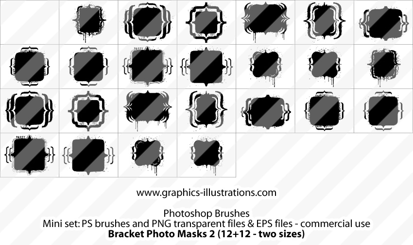 Special Mini pack: Bracket Photo Masks 2 (Photoshop brushes, vectors and PNGs)